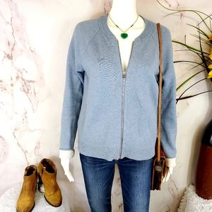 Ann Taylor soft knit front zip cardigan sweater